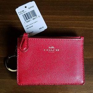 Coach Mini Skinny ID Case Bright Cardinal Leather